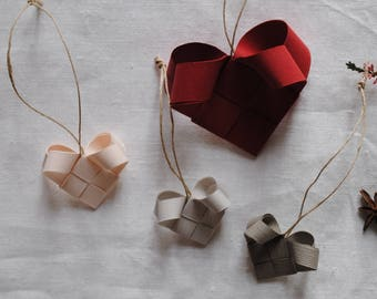 Braided hearts for Christmas tree/decoration for tree/hand folded paper decoration/Nordic Decoration