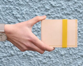 Murray Billfold Wallet, Natural Veg Tan Leather, Yellow Elastic