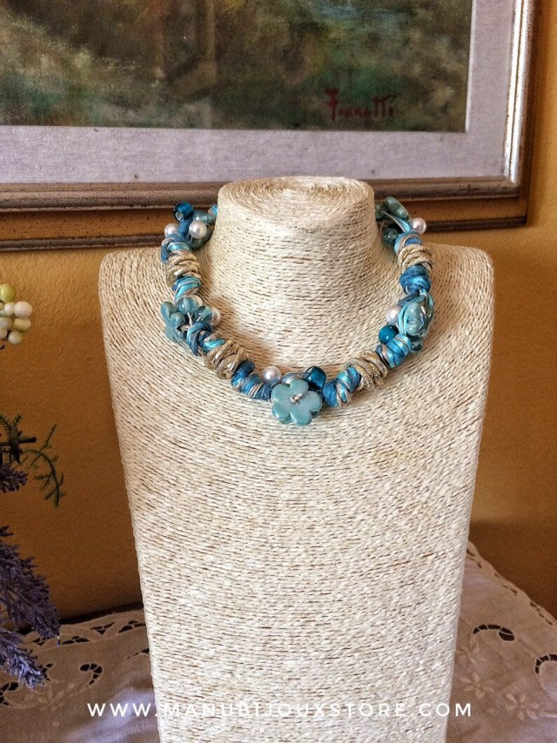 Turquoise rope necklace pearl necklace Greek ceramic image 0