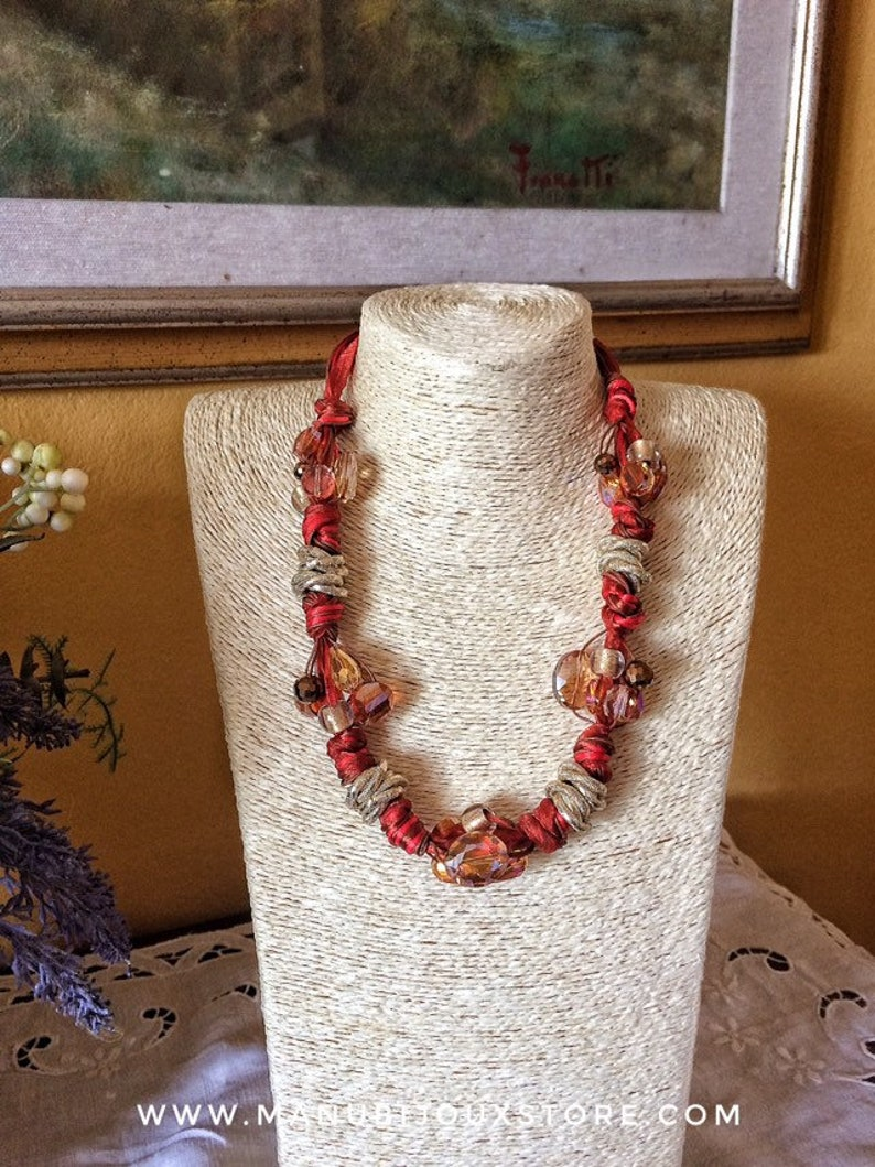 Colorful orange necklace rope with Murano glass and crystals image 0