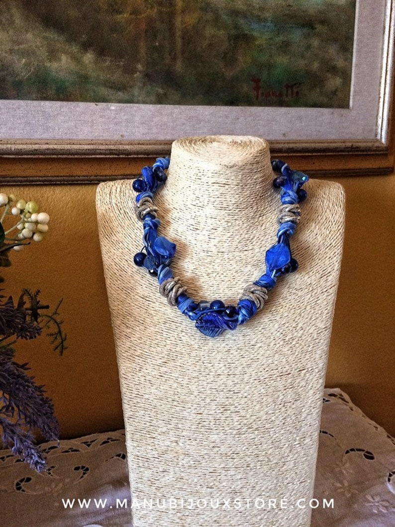Particular blue necklace ceremonial necklace necklace rope image 0