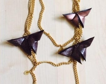 3 chains necklace with origami butterflies