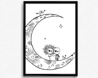 Moon Printable, Instant Digital Download, Valentine's Day Gift, Couple InLove, Black and White Illustration, Love Art