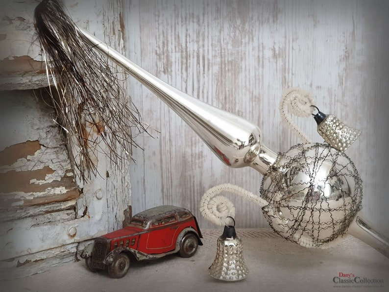 Ancient Silver Christmas Tree Topper 11 2 Bells Wire And Tinsel Vintage Christmas Tree Nostalgia Christmas Hy5665