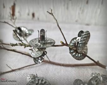 12 mini silver Christmas Tree Holders ~ Vintage Christmas Tree ~ Vintage tin Candle holder ~ Farmhouse Xmas ~ Shabby Chic ~ ht2254