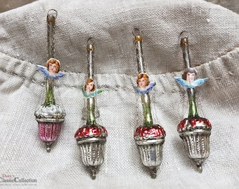 Absolut sensational antique german christmas ornaments from Lauscha made of glass with wire and paper pic ~ hw3771mf