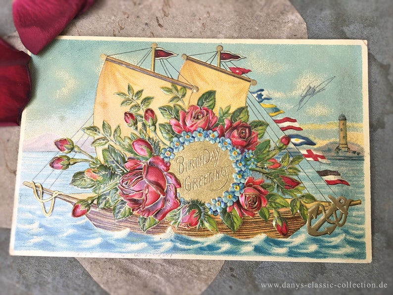 7b1ffc966e9 Vintage post card birthday greetings sailboat flowers flag