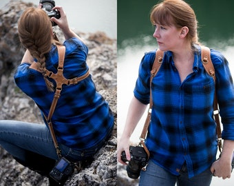 Dual Camera Strap, Real Leather, Multi Camera Leather Harness, Photography, Money Maker