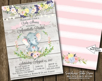 Elephant Baby Shower Invitation Girl Baby Shower Baby Animals Safari Jungle Floral Garland Pink Gray Rustic Flowers Printable or Printed