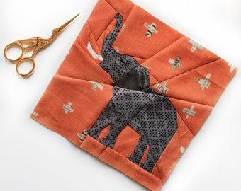 Elephant Quilt Block Pattern, PDF instant download, Nursery Decor, Modern Quilt Pattern, Elephant quilt