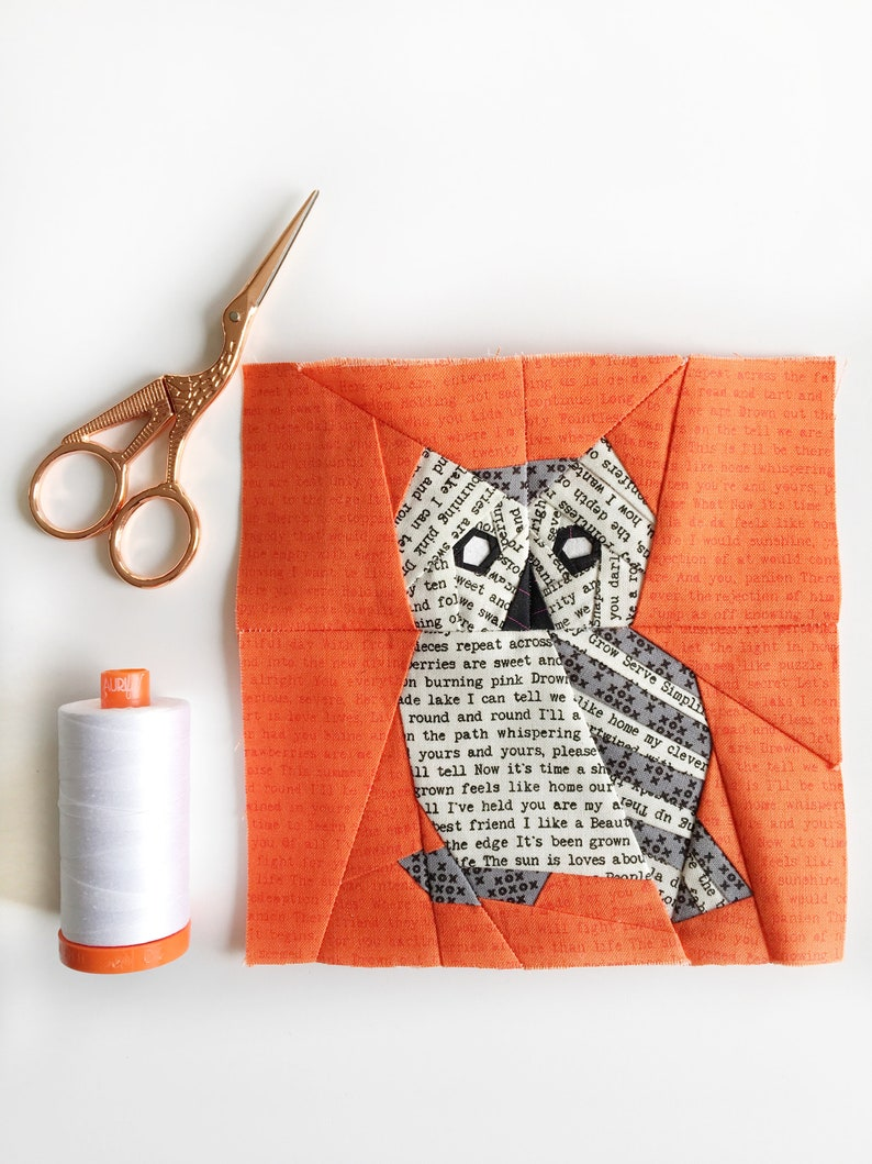 Owl Paper Piecing Pattern Pdf Foundation Piecing Owl Quilt Etsy