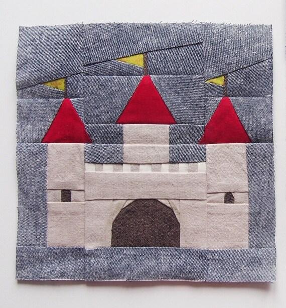 Castle Quilt Block Pattern Pdf Instant Download Nursery Decor Modern Quilt Pattern Fairytale Quilt Pattern