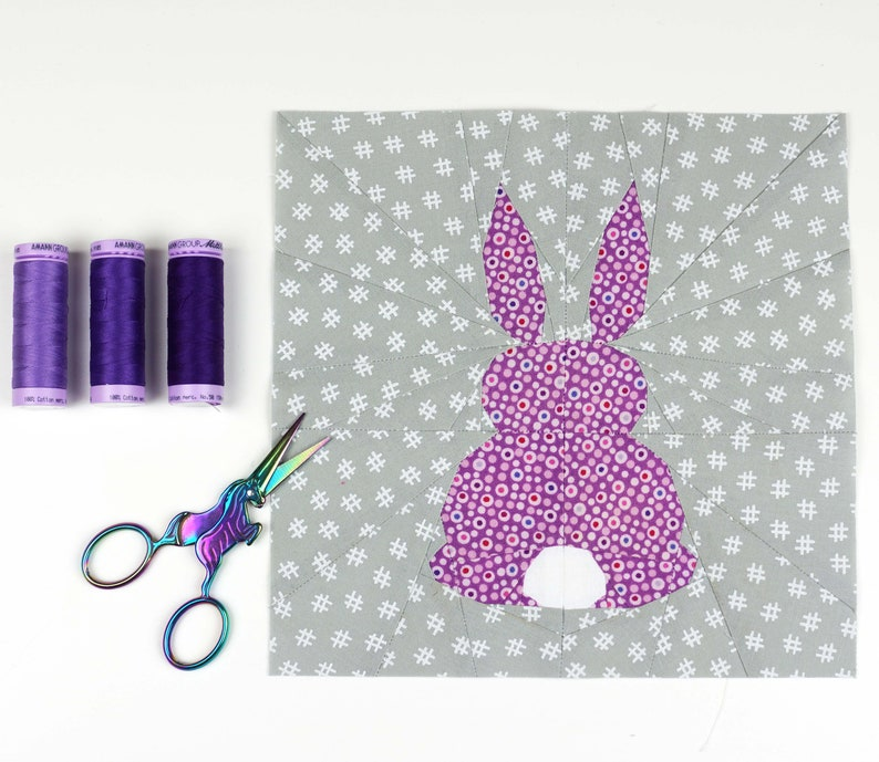 Nursery Decor PDF instant download Bunny/'s Back Quilt Block Pattern Modern Quilt Pattern Bunny Pattern Bunny quilt