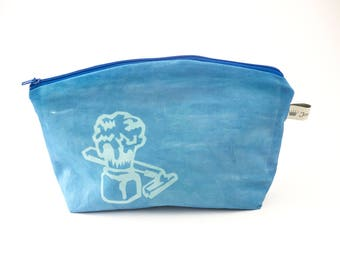 Cotton Cyanotype Cosmetic Bag, Gift For Men, Sun Printing,