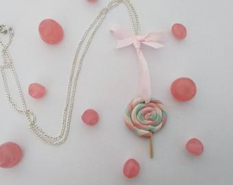 Pale pink ribbon lollipop necklace