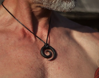 Celtic Spiral Hand forged iron pendant