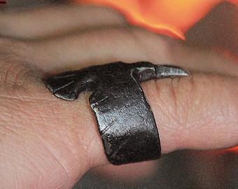 Raven Forged Ring Iron Huginn Viking Ring Odin's Nordic Ring
