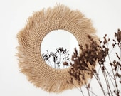 Round wall mirror in jute and macrame for ethnic decoration made handmade