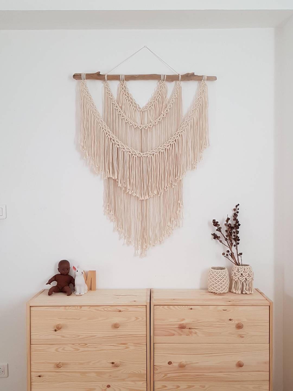 grande t te de lit en macram grand macram mural en coton. Black Bedroom Furniture Sets. Home Design Ideas