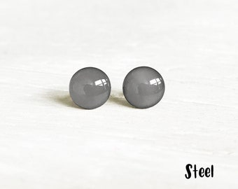 Birthday Gift Round Gray Mens Stud Matte Gray Ear Studs Surgical Steel Post for Men Women Dove Grey Stud Earrings Small Minimal Earring