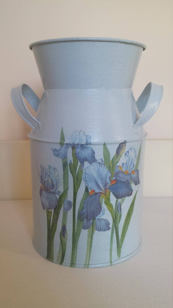 Galvanised Vase Milk Churn Decoupage Decoupage Vase Milk