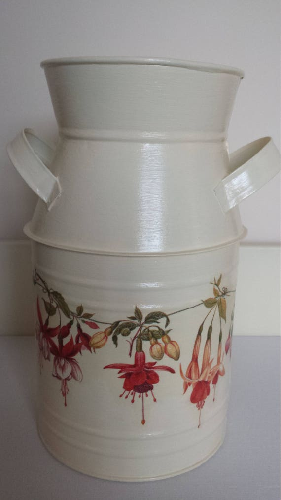 Milk Churn Galvanised Container Galvanised Vase Decoupage Etsy