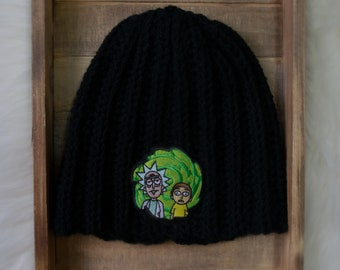 3c37a0961a0 Rick and Morty Beanie - Black Beanie - Unisex Beanie - Winter Hat - Skull  Cap - Embroidered Patch - Crochet Beanie