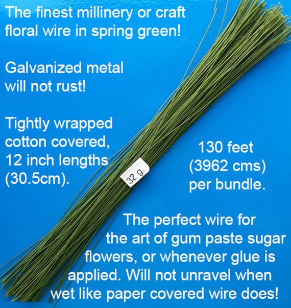 in 12 inch lengths 39.6m 130 feet per bundle 30.5cm 32 Gauge Green Cotton Covered Floral Wire
