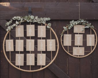 Hoop Table Plan, Wedding, Table Plan, Hand Lettered, Hand Lettering, Modern Lettering, Rustic, Chic, Barn Wedding