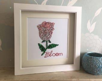 Rose Wall Art, Flower Frame, Flower Bloom, Unique Flower Gift, Handmade Rose, Pink Rose Art, Rose Gift