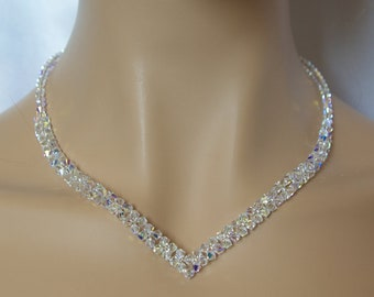 Swarovski Crystal necklace Swarovski Crystal V Necklace Special Day Necklace  Clear AB Necklace Bridal Crystal Necklace Wedding Necklace 1a071ea8d2