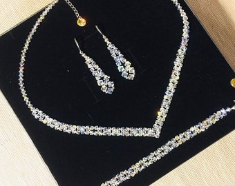 Swarovski Wedding Jewelry Set Swarovski Crystal Bridal Jewelry Set  Swarovski Crystal V Necklace Bracelet and Earring Set 3 piece Jewelry set e73adcf36600
