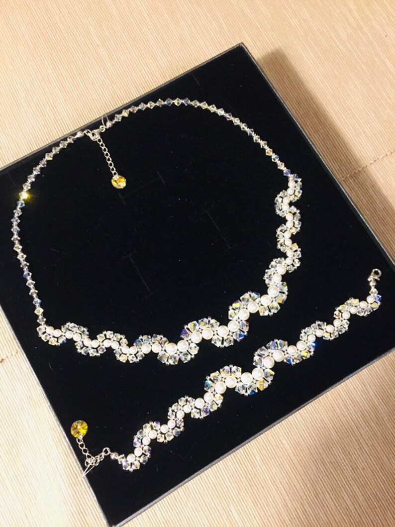 5d686297cb SWAROVSKI Bridal Necklace and Bracelet Set Swarovski Pearl   Etsy