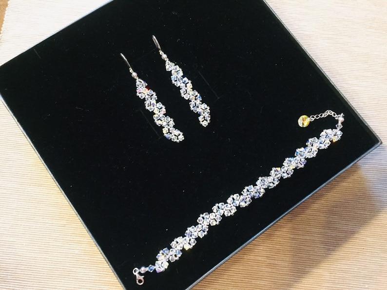 32fd1af888 Swarovski Bridal Two Piece Jewelry Set Swarovski AB Bracelet   Etsy