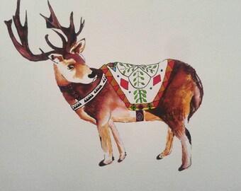 Holiday card, greeting card, christmas card, Reindeer, Xmas