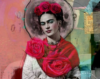 Frida Kahlo, Frida Kahlo collage, Giclee, digital print on canvas, Collage, Collage art on canvas, art collage, Mexico, gift for her