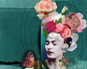 """Frida Kahlo Art collage """"Difference between saying goodbye and letting go"""",Giclee print on canvas,Collage art on canvas, art collage,Mexico"""