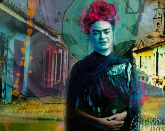 "Frida Kahlo Collage art "" Everything flies and goes away "",Giclee print on canvas, Collage, art on canvas, graphic art, art on canvas"