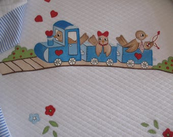 Bed cover with little Bird's train