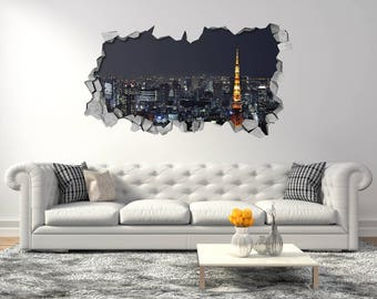 Tokyo city - 3D Smashed wall - Wall Decal For Home Bedroom Decoration & Japanese wall decals | Etsy