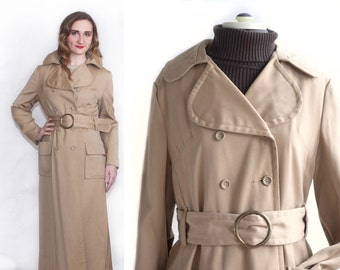 Vintage 1960s Womens Beige Heavy Trench Coat, 60s Double Breasted Lined Coat, Camel Trench Belted Full Length, Womens Sz Large, Lanson