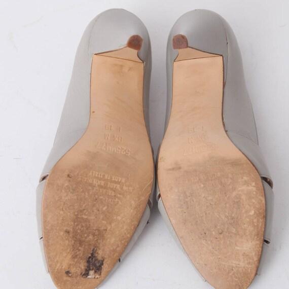 1980s Vintage Gray Leather Open toe Pumps, Women's Size 8 12, 3 14