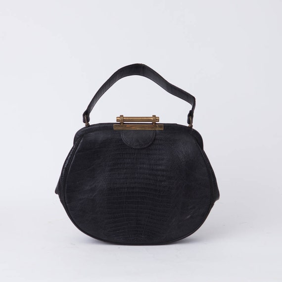 4b1c2387dde Vintage Black Reptile Leather Handbag Small Black Handbag