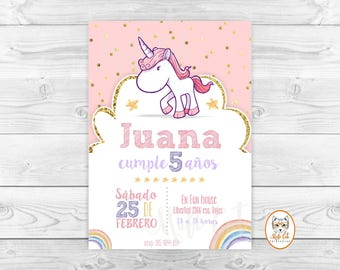 Rainbow Unicorn birthday invitation, Rainbow cake invitation Unicorn, invitation birthday invitation Unicorn, party