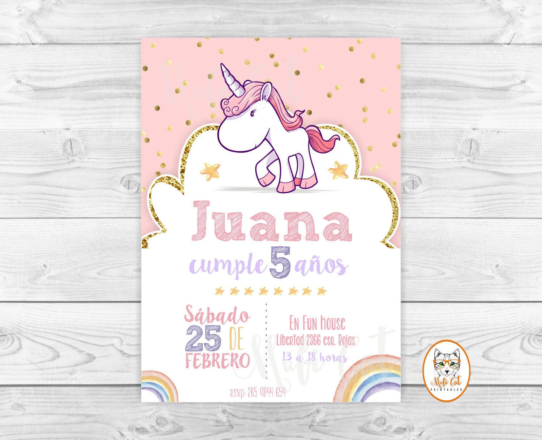 Arcoiris unicornio invitacion cumpleaños Arcoiris pastel | Etsy
