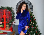 Velvet Mini Dress Velvet Draped Dress Blue Velvet Dress Party Mini Dress Long Sleeves Velvet Dress