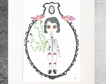 Drawing illustration limited edition doll reproduction baroque Rock