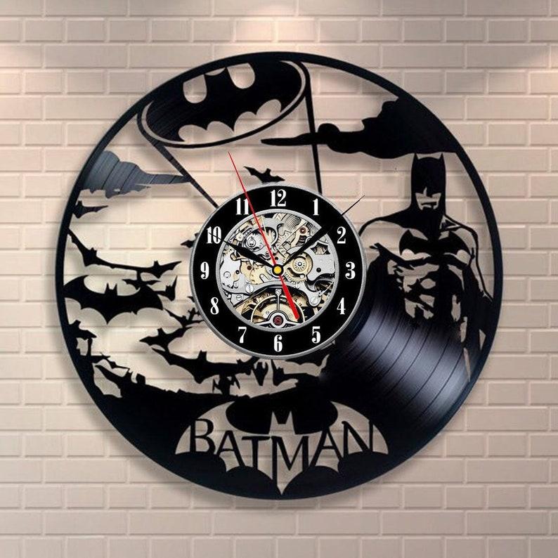 Batman Print Vinyl Record Clock Superhero Print Vinyl Wall Clock Batman