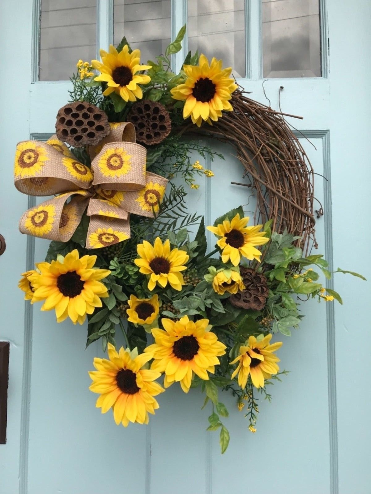 FREE SHIPPING! Wreaths, Farmhouse Sunflower wreath, grapevine ...