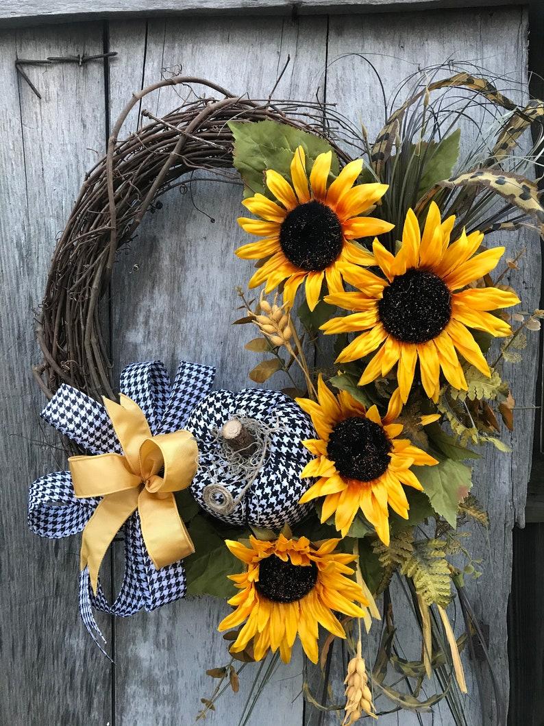Home Kitchen Yellow Sunflower Grapevine Wreath Handmade Products Godthjaelp Dk